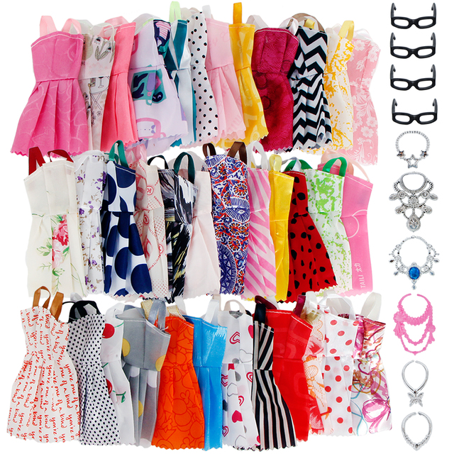 20 Pcs/Lot = Random 10x Mixed Style Mini Dress + 6x Plastic Necklaces + 4x Black Glasses Clothes For Barbie Doll Accessories