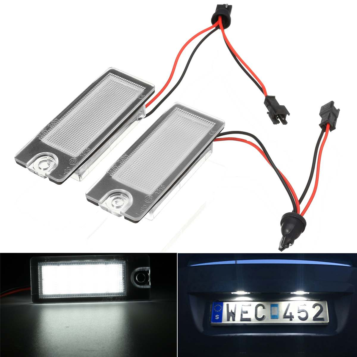 Pair Rear Licence Number Plate LED Light White For <font><b>Volvo</b></font> V70 CX70 S60 S80 <font><b>XC90</b></font> 2001 2002 <font><b>2003</b></font> 2004 2005 2006 2007 image