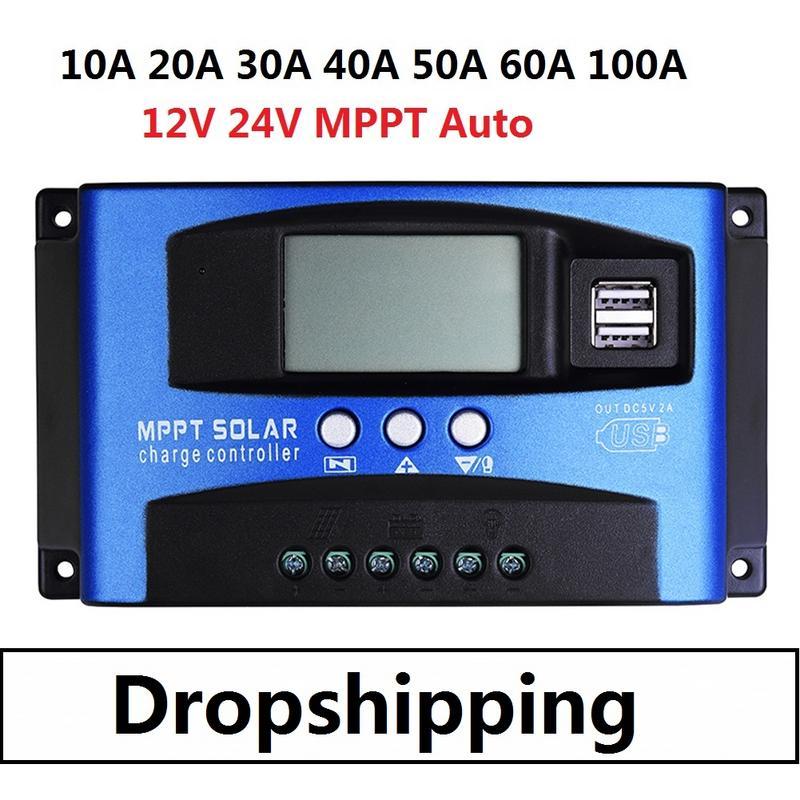 Digital 10A-40A MPPT Panneau solaire Régulateur de batterie Régulateur de