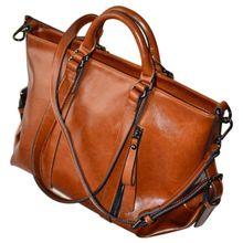 Women Oiled Leather Tote Handbag Purse Lady Messenger Shoulder Bag Satchel
