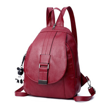 Fashion Women Backpack Quality Real Leather School Bags For Teenager Girls Large Vintage Solid Shoulder