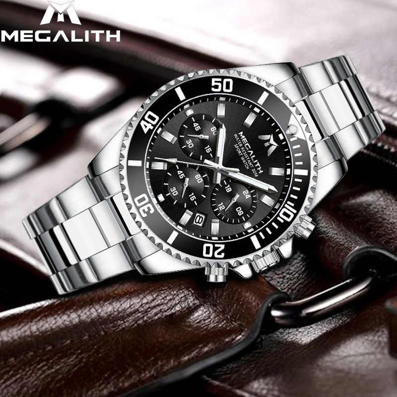 MEGALITH אופנה Mens שעונים למעלה מותג יוקרה עמיד למים Colck נירוסטה גברים קוורץ שעונים גברים ספורט שעוני יד