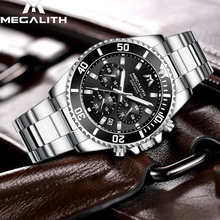 Relojes para hombre de moda MEGALITH de alta marca de lujo a prueba de agua de acero inoxidable para hombres reloj de cuarzo para caballeros reloj de pulsera deportivo