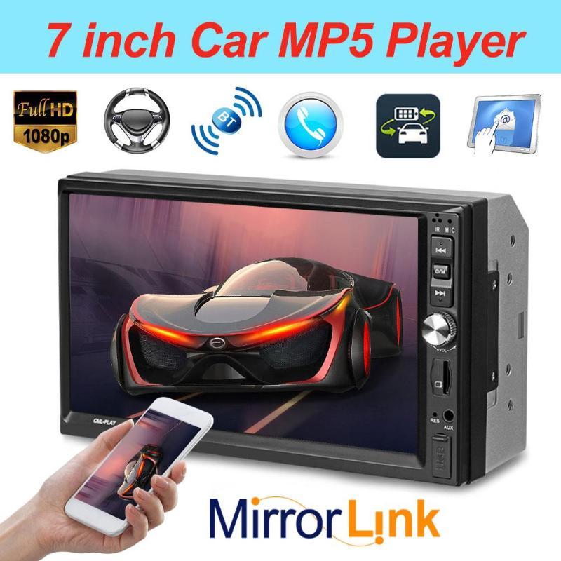 7022B 2Din 1024*600 7 Сенсорный экран автомобиля Bluetooth MP5 плеер стерео видео аудио FM-радио Media Player с резервным Камера Новый
