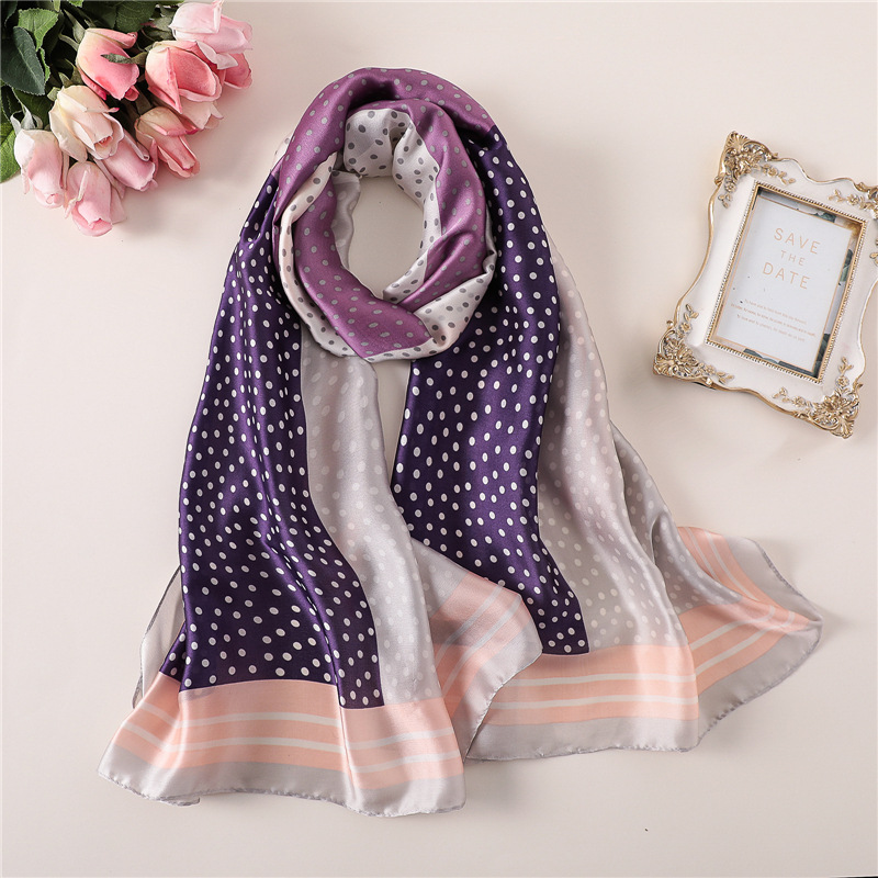 2019 NEW Spring summer silk   scarf   for women shawl and   wrap   fashion print dot female pashmina foulard hijabs