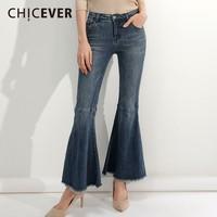 CHICEVER Women's Jeans Tassel Flare Pants Female High Waist Denim Trouser For Women Pants Autumn Fashion Vintage New
