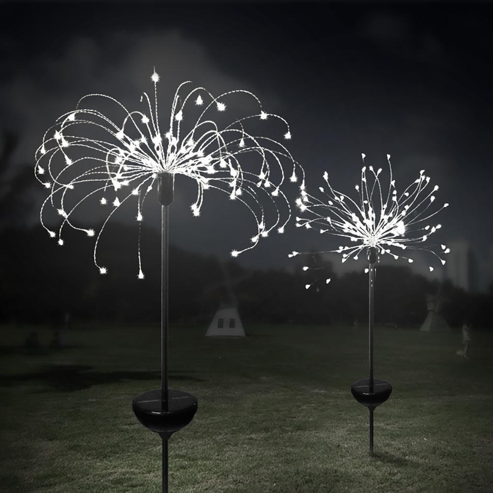 2pcs 120LEDs Solar Powered Fireworks String Light Outdoor Garden Yard Festival Party Decoration Explosion Solar Lamp Lighting