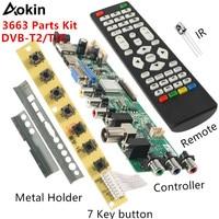 V56 V59 LCD TV Driver Board DVB T2+7 Key Switch+IR+4 Lamp Inverter+LVDS Kit 3663