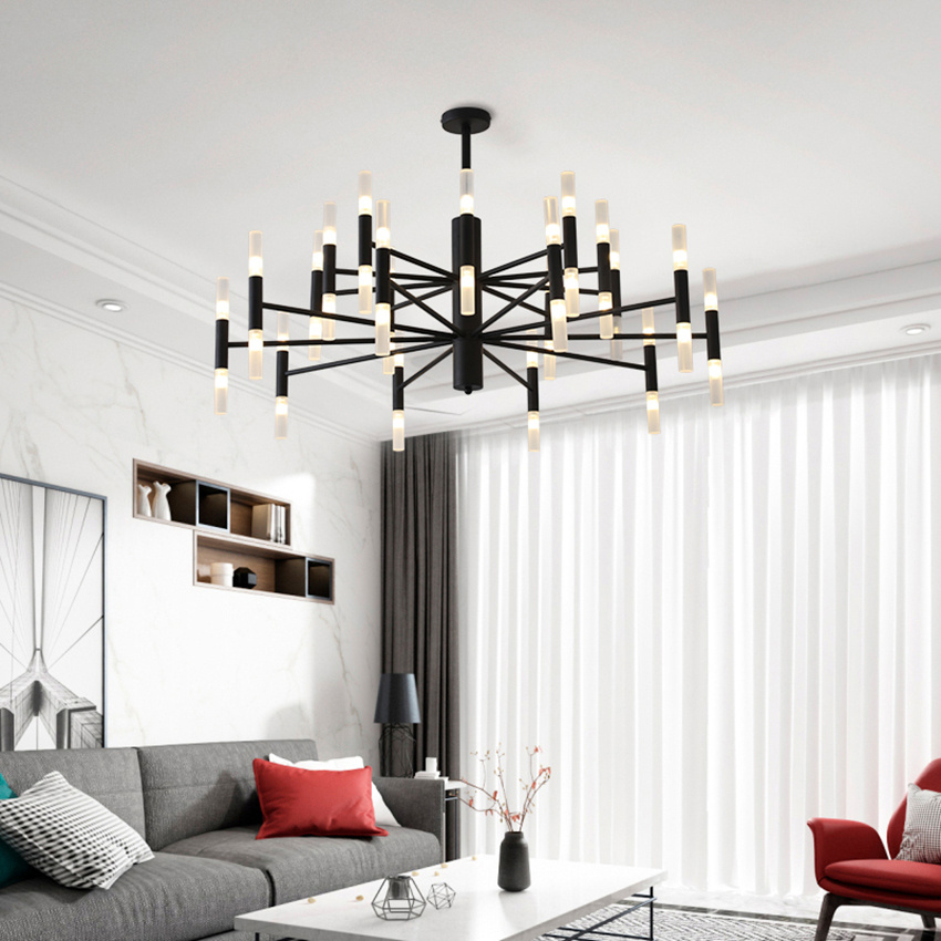 Modern Black Led  Chandeliers Nordic Luxury Hotel Hall Restaurant Chandelier Lighting Iron Ceiling Lamp Luminarias
