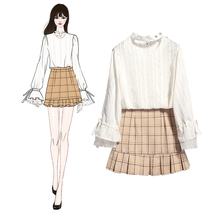 2019 spring new Korean fashion lantern long sleeve shirts & plaid Skirts two-piece women clothing set vestido top outfit S M L