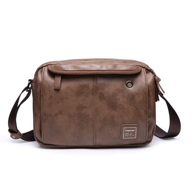 bdf81e3d35c Casual Men Vintage Style Small Messenger Bags With Headphone Hole Soft PU  Leather Coffee Chest Bag Large Capacity Bag