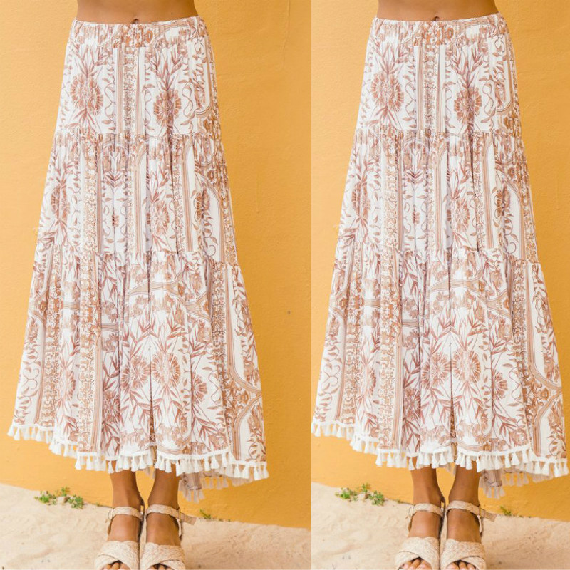 Vintage Boho Floral Print Long Women Skirt High Waist A Line Tassel Summer Casual  Sexy Ruffle Beach Female Skirt