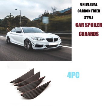 Universal Car Exterior Decoration 3d Spoiler Canards Carbon Fiber Look For Front Bumper Lip Splitter Fender Side Air Vent Trim image