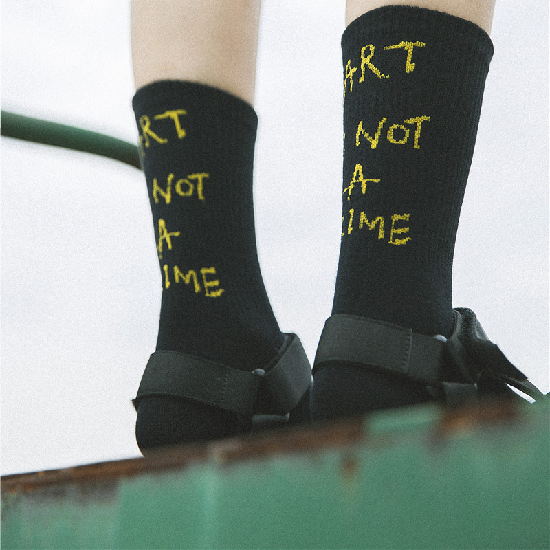 Fetoo Korean Harajuku Street Style Letter   Socks   School Ladies Hip Hop Female ART IS NOT A CRIME   Socks   Women Funny   Socks