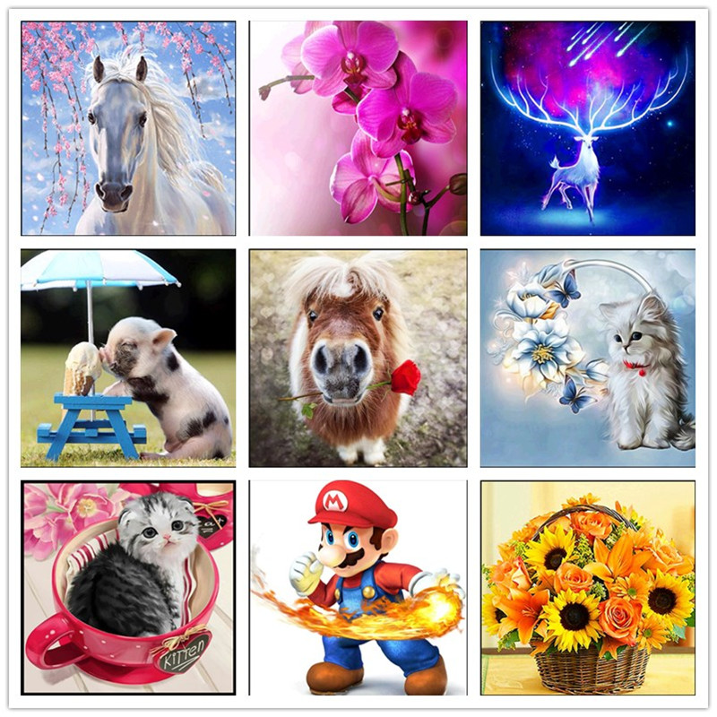 5D Diamond Embroidery Kids Painting Kit Mosaic Learning Puzzles Cartoon YF