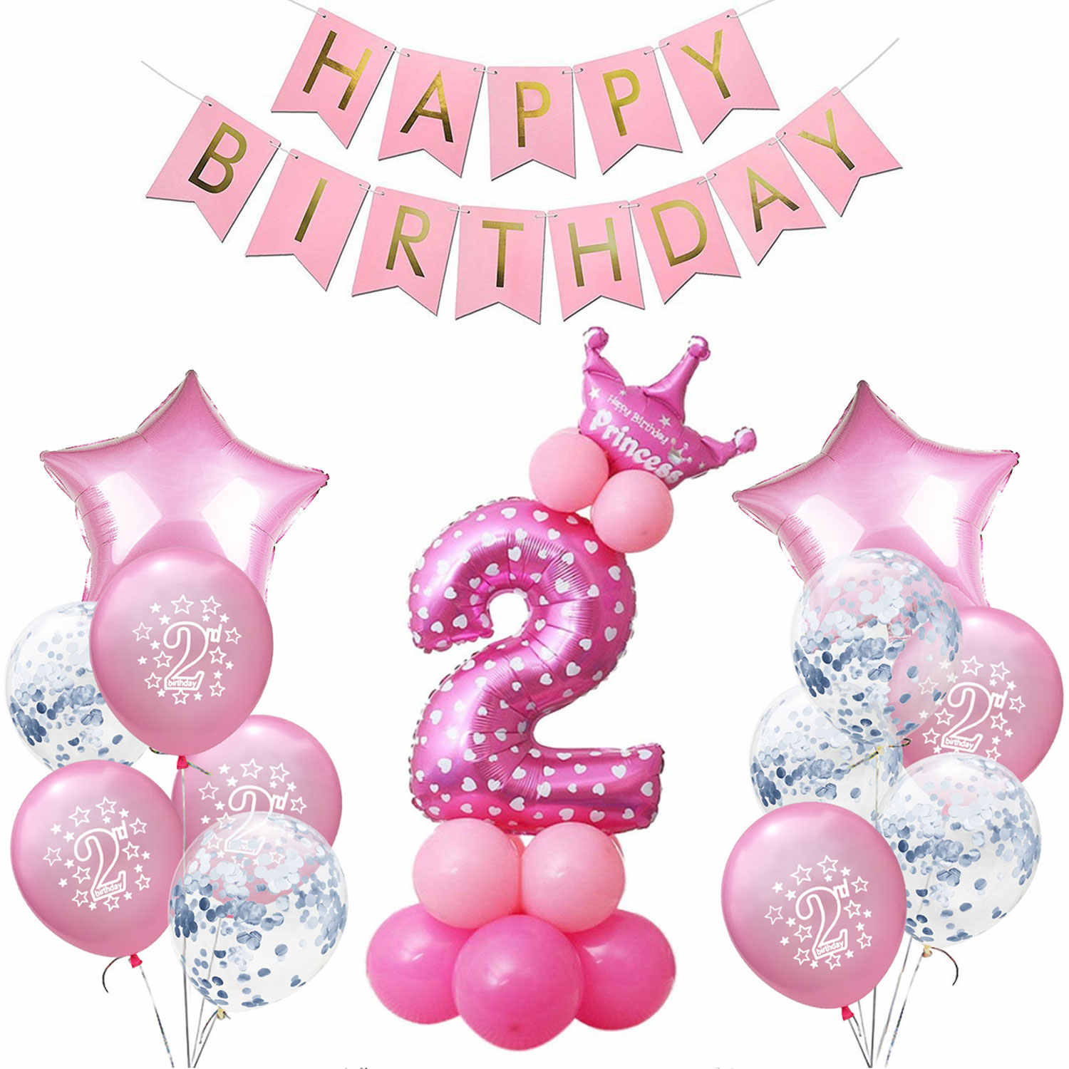 Amawill Birthday Decoration Girl Pink Confetti Balloon Baby 2nd Party Decor Hot Pompoms For 2 Year Old Shower