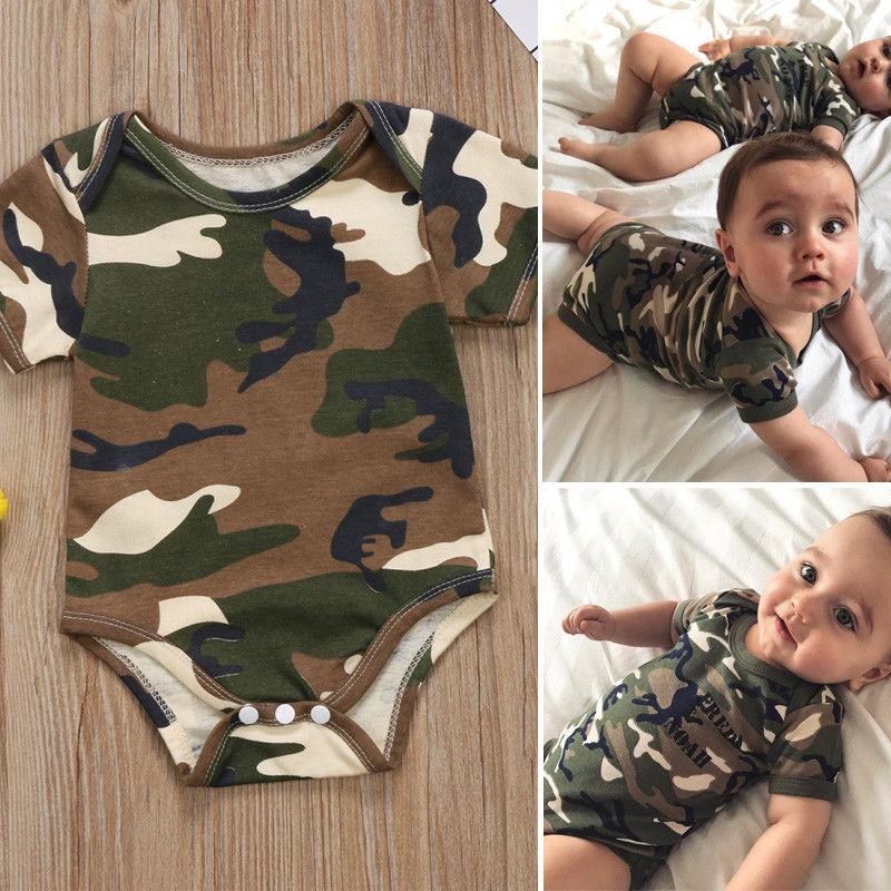 Pudcoco Babys Jumpsuits Kids Baby Boys Girls Camo Short Sleeve   Romper   Jumpsuit Clothes Summer US Xiawan