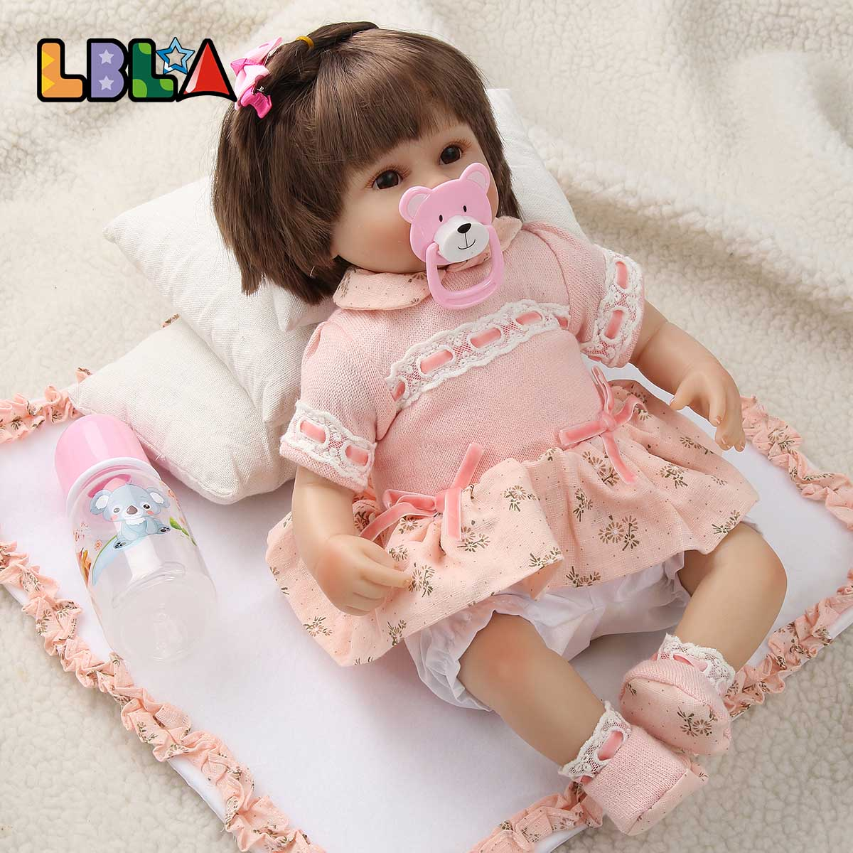 Reborn Doll Toys Realistic Soft Silicone Newborn Doll Girl Toy 18 Inch Adorable Bebes Kids Brinquedos Boneca Toy for Christmas