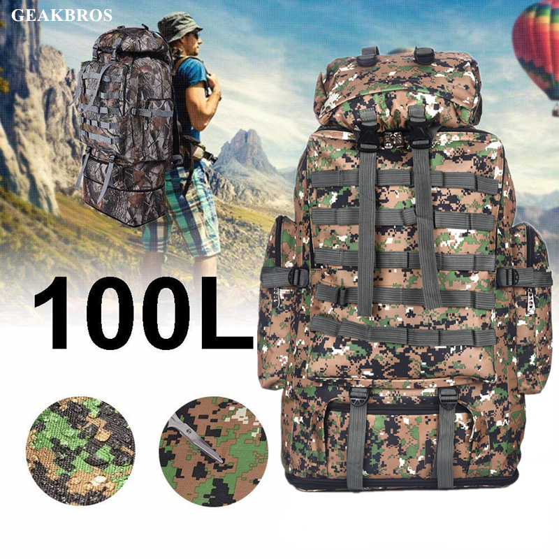 100L Molle Camo Tactical Backpack Military Army Waterproof Hiking Camping Backpack Travel Rucksack Outdoor Sports Climbing Bag Рюкзак