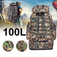 100L Molle Camo Tactical Backpack Military Army Waterproof Hiking Camping Backpack Travel Rucksack Outdoor Sports Climbing Bag