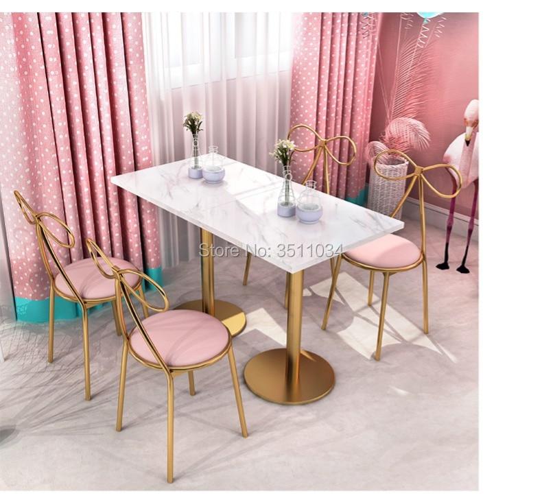 Princess bar chiar Bar stool Flannelette cushion backrest refreshing net red ins dessert restaurant economical Nordic chair