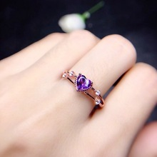 Fashion Women's 14K Rose Gold Rings Heart-shaped Purple Bague Etoile Bizuteria Anillos De Jewelry for Women Diamond Rings 2019