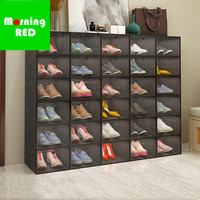 2019 New Listing Plastic Folding Sneakers Storage Shoe Box Magnetic Door Opening and Closing Convenient Shoe Cabinet