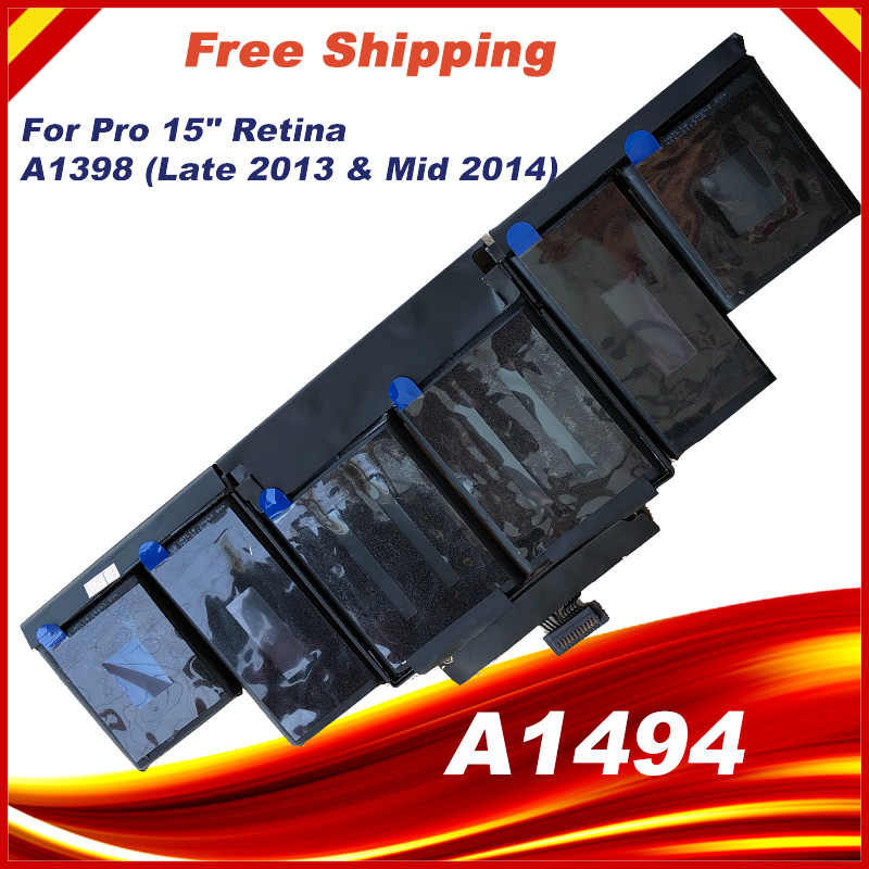"""95Wh 11.26V A1494 Batterij Voor Apple Macbook Pro 15 """"Inch Retina A1398 Late 2013 Mid 2014 MGXC2 MGXA2 ME293 ME294"""