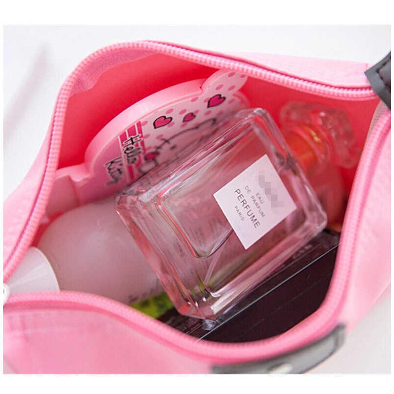 2019 nuevas bolsas de cosméticos impermeables para mujer, bolsa de maquillaje de Color sólido, estuche de lápices, bolsa de almacenamiento