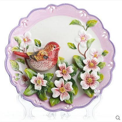 Red Magpie Birds Flowers Decorative Wall Dishes Porcelain Decorative Plates Vintage Home Decor Crafts Room Decoration