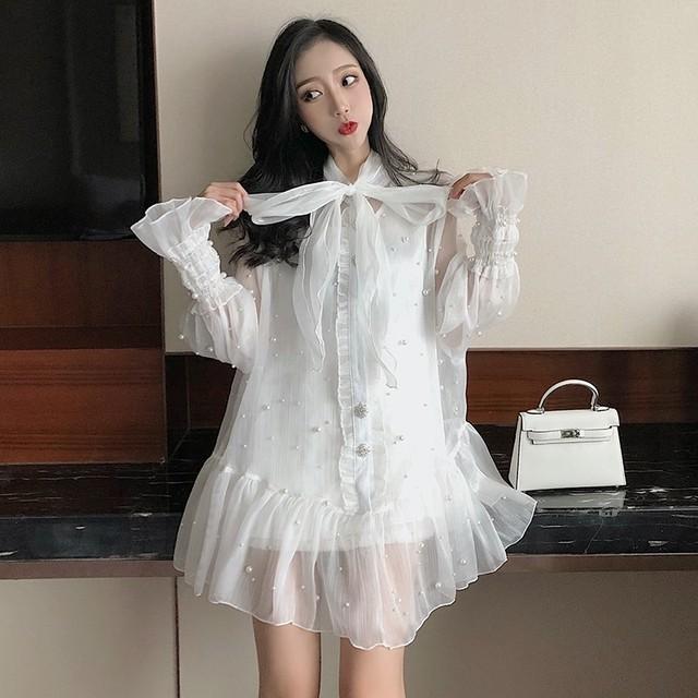 VGH Spring Sweet Women Dress Flare Sleeve Lace Up Bow Collar Ruffles Hem Beading Chiffon Female Dresses 2019 Fashion New Tide