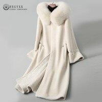 2019 Winter Jacket Sheepskin Coat Womens Real Fur Parka Female Long Slim Fox Fur Collar Hooded Warm Wool Blend Outerwear Okd572