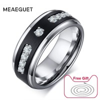 Silver Cubic Zircon Stone Black Matt Mens Tungsten Rings Wedding Engagement Jewelry US Size Free Gifts