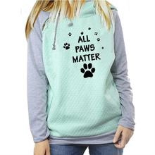 Zipper Decoration Hoodies For Women Paw Letters Print Kawaii Sweatshirt Femmes Thick Funny Casual Creative