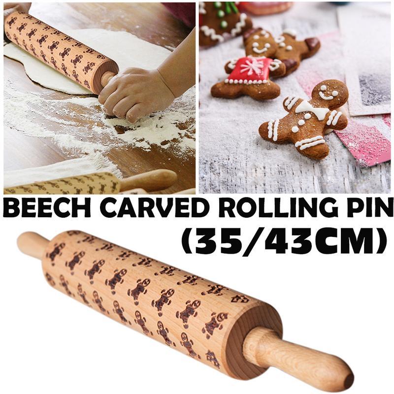 Dropshipping Geprägte Rolling Pin Lebkuchen Mann Muster Geprägte Rolling Pin Buche Geschnitzte Druck Rolling Pin