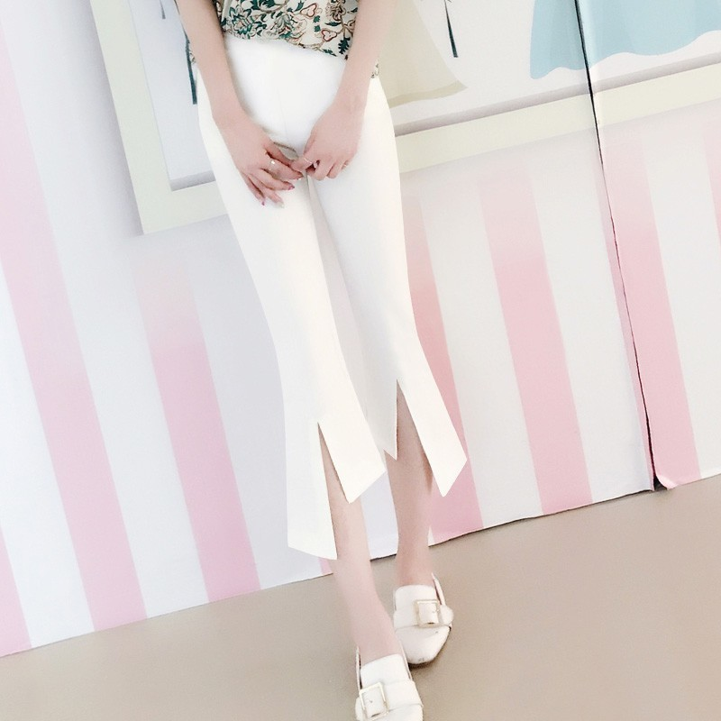 Women Pants 2019 Summer Casual Ladies Office Wear Ankle length Flare Pants Female High Waist Trousers in Pants amp Capris from Women 39 s Clothing