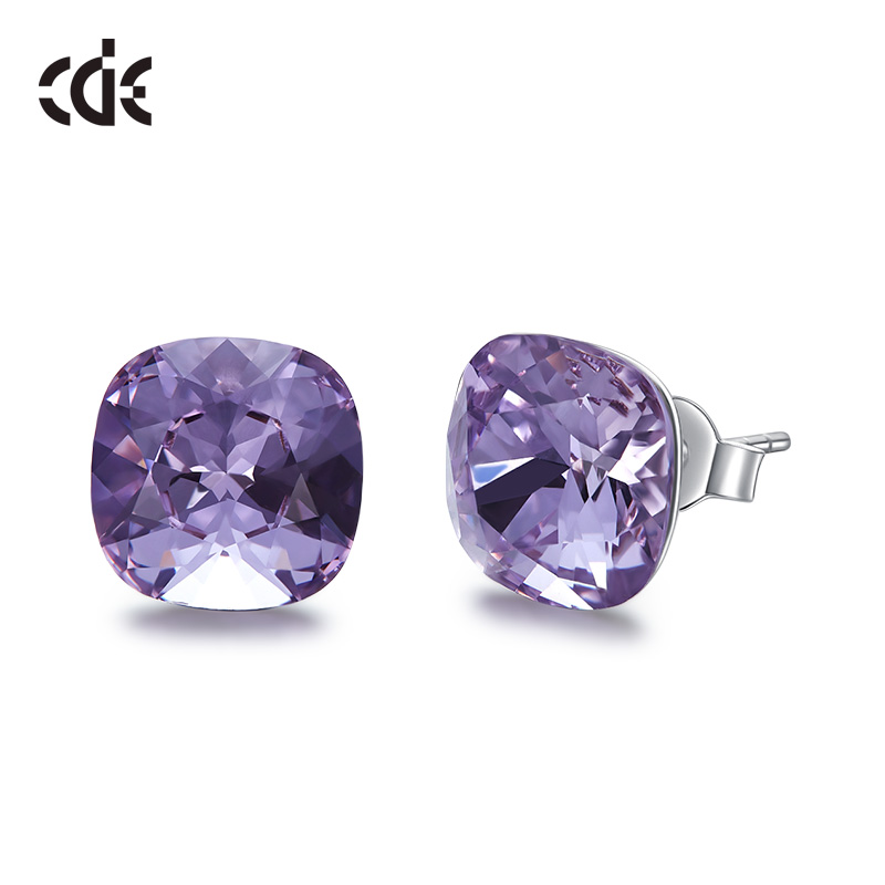 CDE 925-Sterling-Silver Earrings Jewellery Swarovski Square Womens Crystals with Embellished