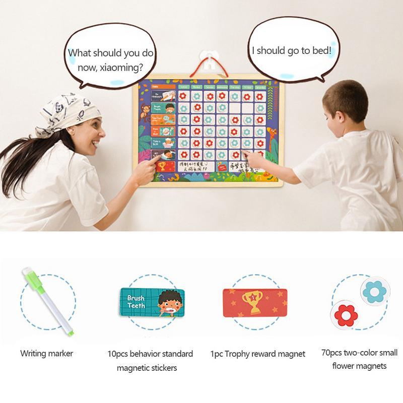 Het Beste Educatief Magnetische Verantwoordelijkheid Grafiek Playboard Voor Kinderen Baby Houten Gedrag Record Raad Speelgoed Met Magneten Beloning Grafiek