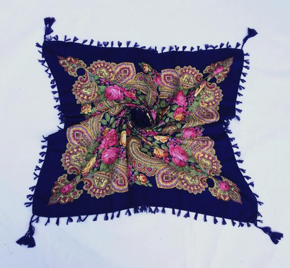 Print   Scarf   Shawl Russian Pattern Tassel Square   Scarf   Female Winter Cotton Aztec Hijab   Wrap   Head   Scarf   90*90cm 130g