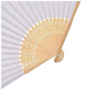 Image 5 - 50 قطعة/الوحدة الأبيض للطي ورقة أنيقة اليد مروحة حفل زفاف Favors 21 سنتيمتر (أبيض)