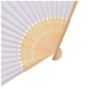 Image 5 - Lote de 50 unidades de abanicos de papel blanco, elegantes y plegables, recuerdos para fiestas de boda de 21cm (blanco)