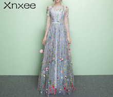 Xnxee Floral Illusion Backless Print Zipper A-line Dresses Floor Length Party Gown Evening Gowns