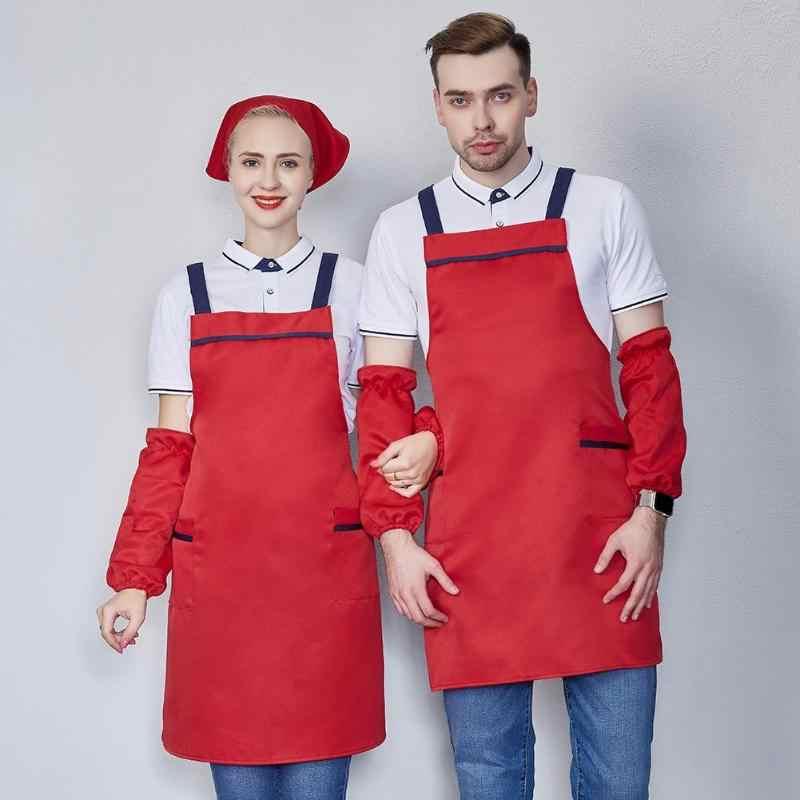 Eenvoudige 2 Zakken Keuken Koken Schort Jurk + Schoon Mouwen + Hoofddoek Kit Voor Cafe Chef Restaurant Bakken