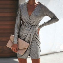 Women Solid  Lace Up Bodycon Dress V-Neck Long Sleeves Strap Slim Pleated Mini Dress Gray Work Office Dress