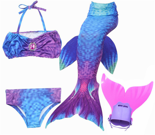 Hot 4pcs/set Fancy Dianonds Mermaid Tail With Monofin Flippers Girls Swimsuit Costume For Swimming