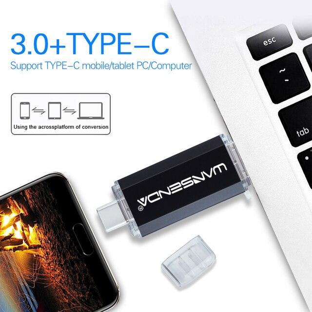 Hotsale WANSENDA OTG USB Flash Drive Type C Pen Drive 512GB 256GB 128GB 64GB 32GB 16GB USB Stick 3.0 Pendrive for Type-C Device 5