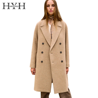 HYH HAOYIHUI Simple Temperament Commuter Basic Outcoats Flip Collar Double breasted Camel Long Coat