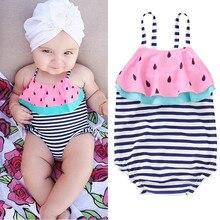 Одежда для купания для маленьких девочек; коллекция года; цельное бикини в полоску с оборками и арбузом; летний купальник для маленьких девочек; пляжная одежда; купальник