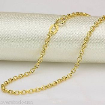 New 23.6INCH 18K Yellow Gold Necklace 2mm ROLO Link Chain Necklace 2.60g 1