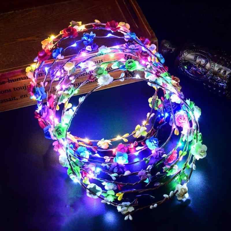 Świecąca girlanda ślubna korona na przyjęcie kwiat z pałąkiem na głowę LED Light Christmas Neon wianek dekoracja Luminous Hair girlandy Hairband